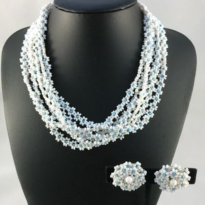 Vintage white and blue beaded necklace and clips